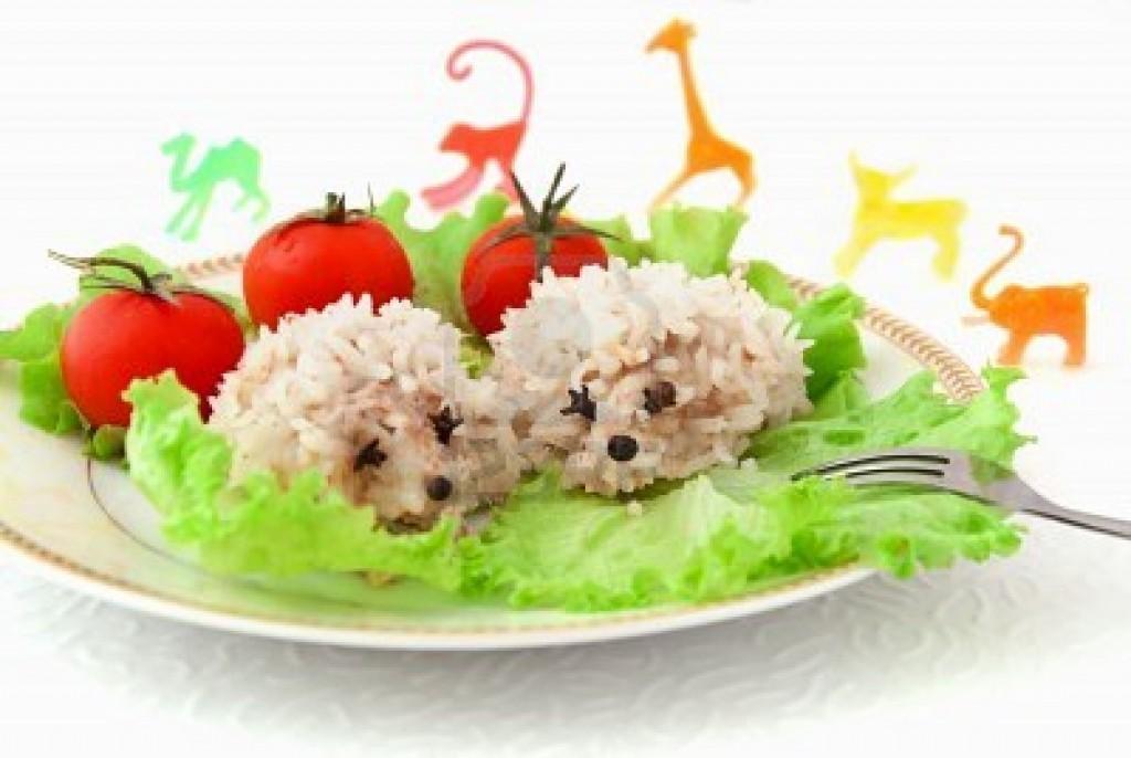 9565269-cibo-per-bambini-istrici-due-divertenti-riso-pomodori-insalata ...